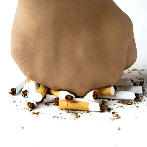 Female hand destroying cigarette, concept of refuse bad habit, isolated on white background